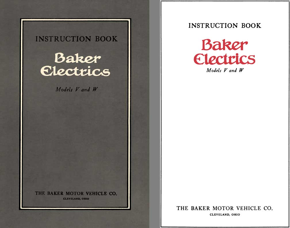 Baker 1912 - Instruction Book Baker Electrics Models V and W