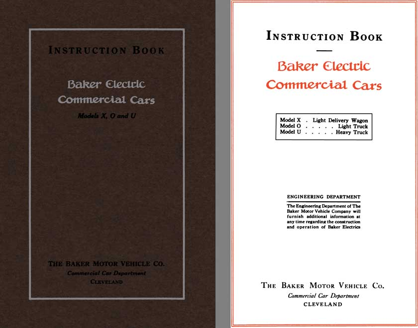 Baker 1913 - Instruction Book Baker Electric Commercial Cars Models X, O, and U