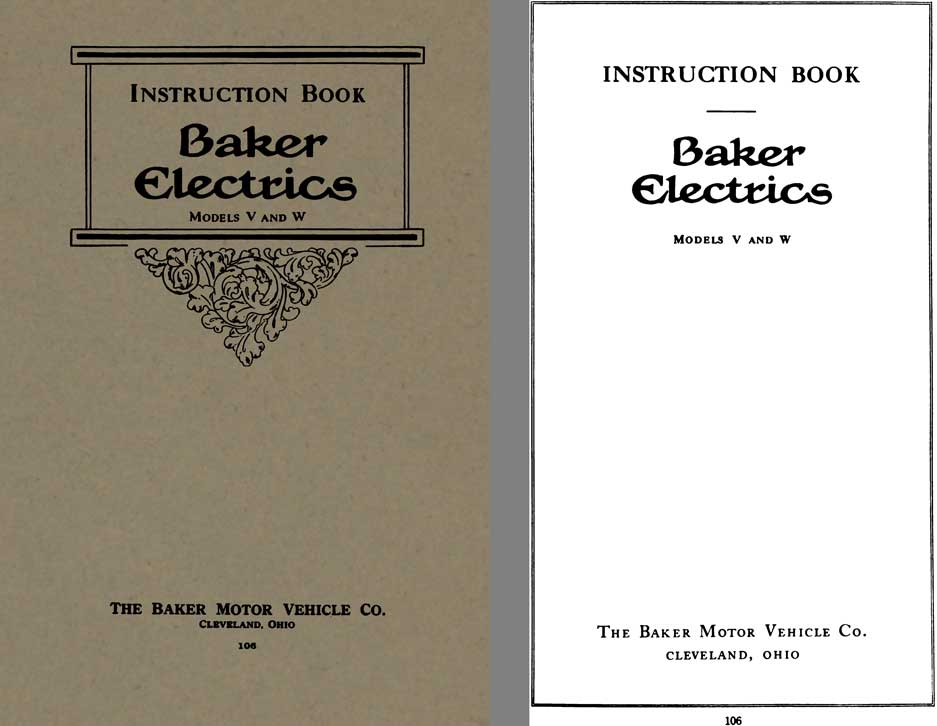 Baker 1916 - Instruction Book Baker Electrics Models V and W