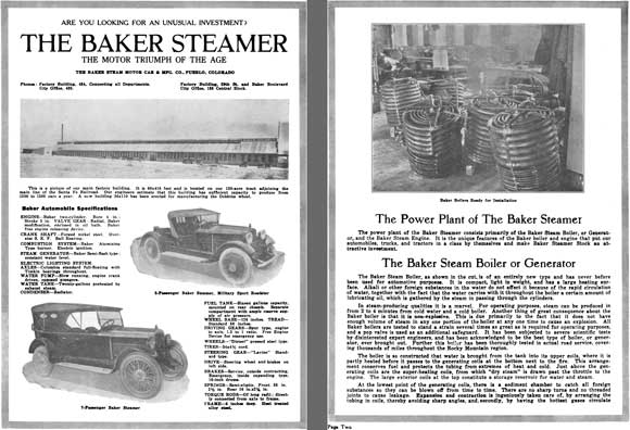 Baker Steamer 1921 - Are You Looking for an Unusual Investment? The Baker Steamer