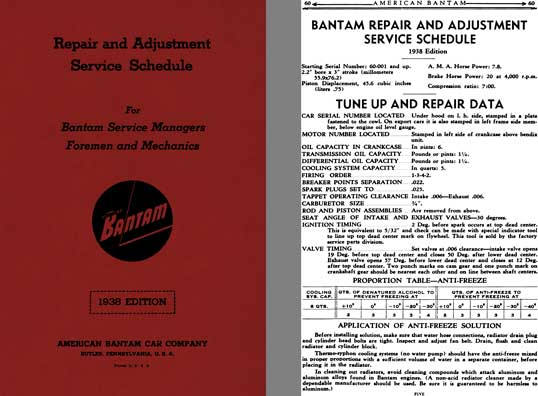 Bantam 1938 - 1938 Edition Bantam Repair and Adjustment Service Schedule