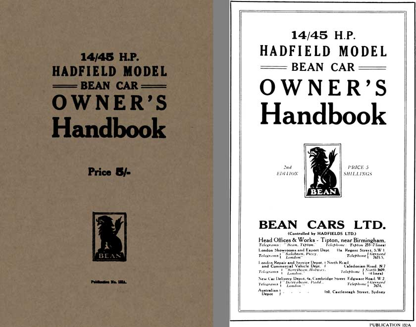 Bean Car c1922 - 14/45 HP Hadfield Model Bean Car Owners Handbook No.132A