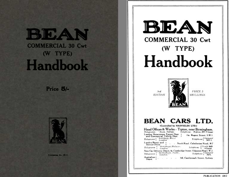 Bean Cars 1928 - Bean Commercial 30 Cwt (W Type) Handbook