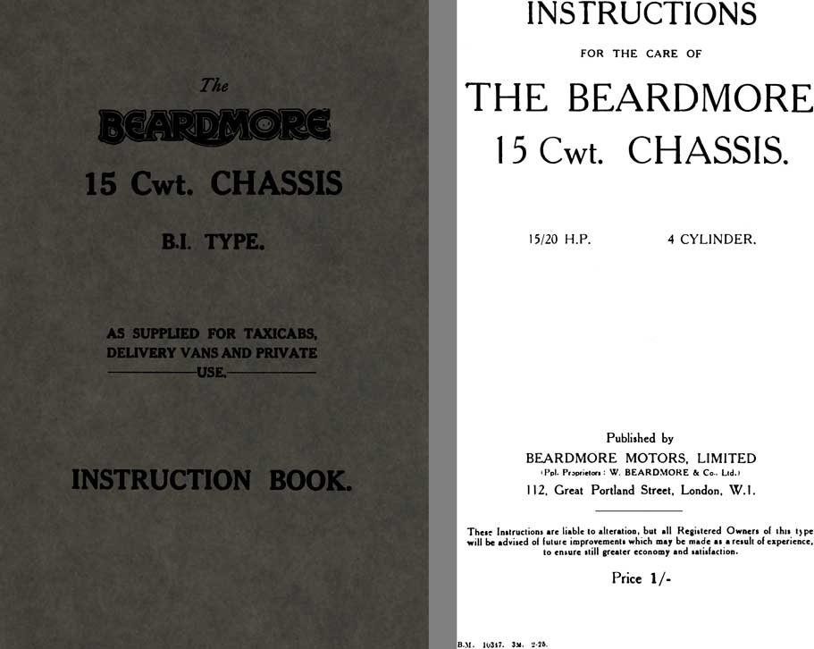 Beardmore 1925 - The Beardmore 15 Cwt. Chassis B.I. Type Instruction Book