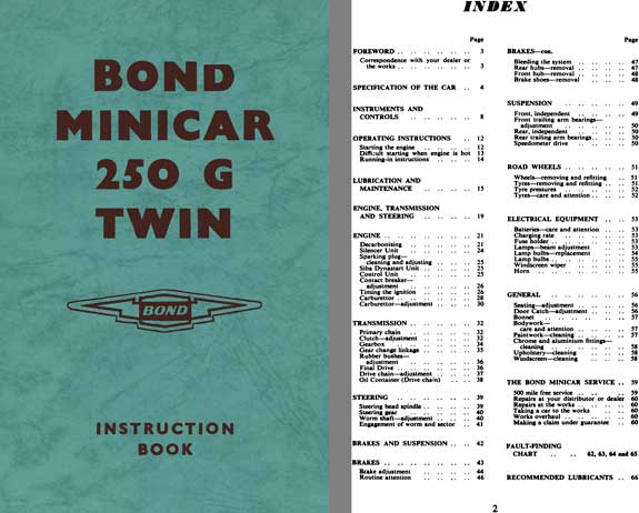 Bond 1963 - Bond Minicar 250 G Twin Instruction Book (Ranger & Estate Models)