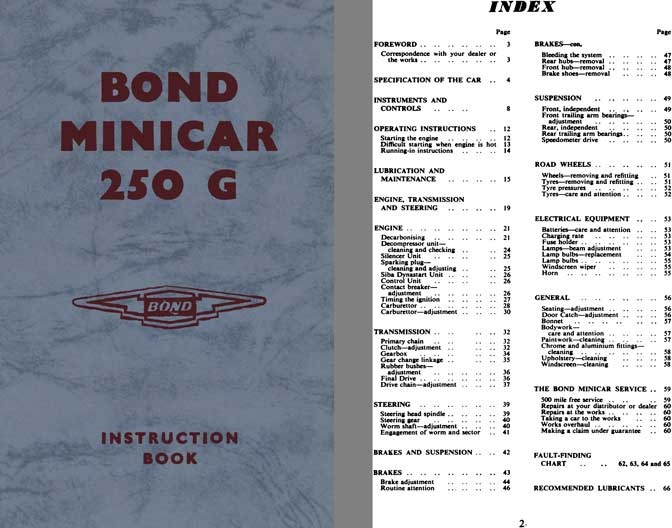 Bond 1964 - Bond Minicar 250 G Instruction Book (Ranger & Estate Models)