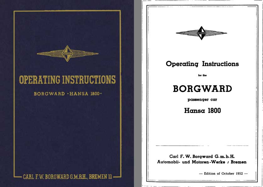 Borgward 1952 - Operating Instructions Borgward Hansa 1800