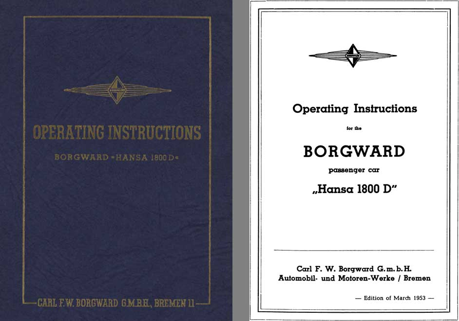 Borgward 1953 - Operating Instructions Borgward Hansa 1800D