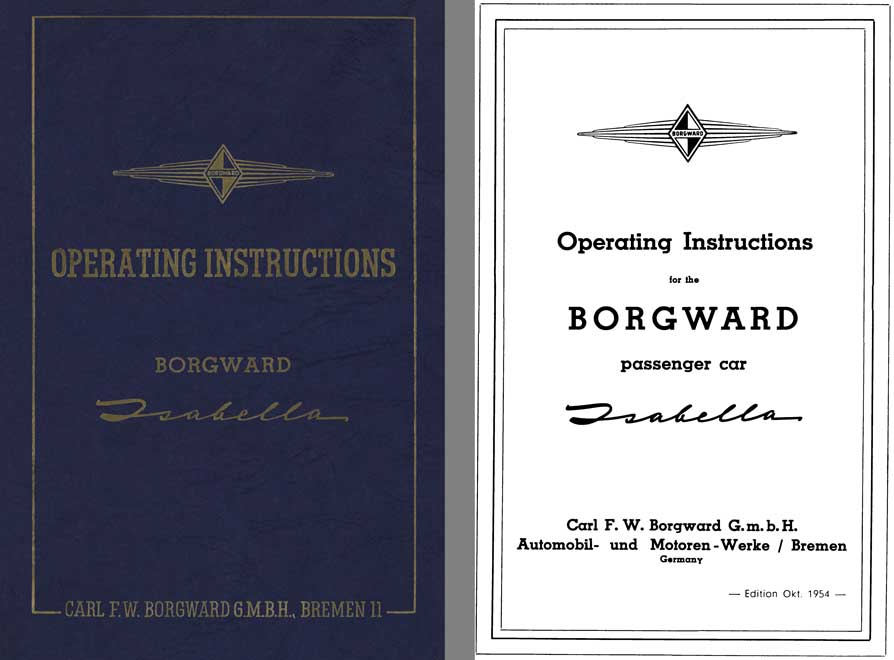 Borgward 1954 - Operating Instructions Borgward Isabella (Without Tabs)
