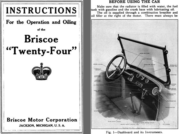 Briscoe 1917 - 1917 Briscoe Twenty Four - Instructions for the Operation and Oiling