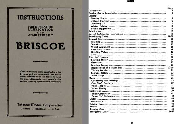 Briscoe 1920 - 1920 Briscoe Instructions for Operation Lubrication and Adjustment Manual