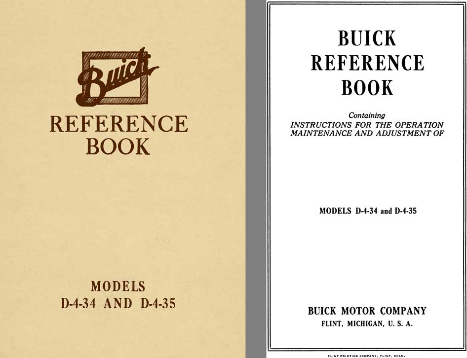 Buick 1916 - Buick Reference Book Models D-4-34 and D4-35