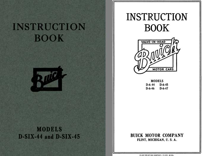 Buick 1917 - Instruction Book Buick Models D-Six-44 and D-Six-45
