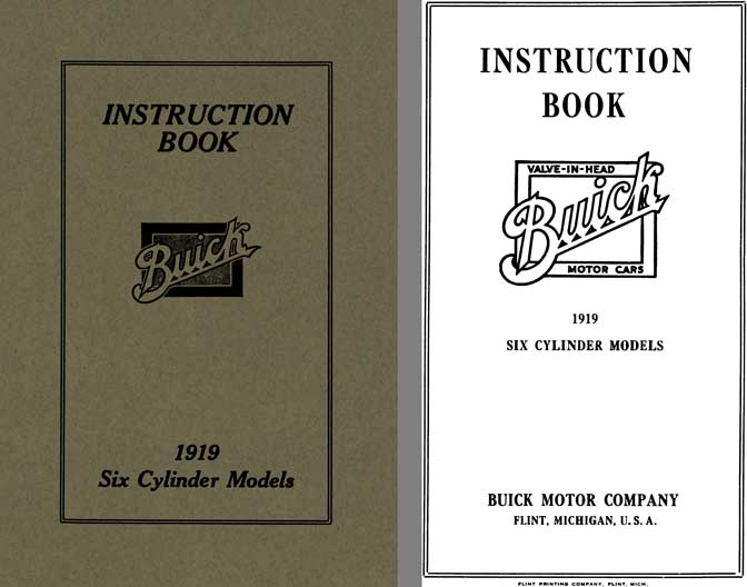 Buick 1919 - Instruction Book Buick 1919 Six Cylinder Models