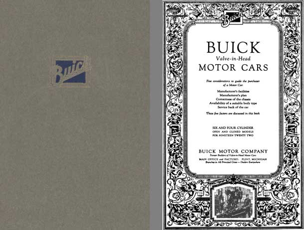 Buick 1922 - Buick Valve-in-Head Motor Cars - 5 Considerations to Guide the Purchaser of a Motor Car
