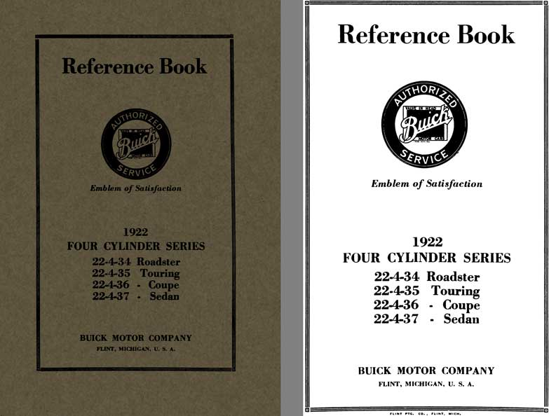 Buick 1922 - Reference Book Buick 1922 Four Cylinder Series 22-4-34, 22-4-35, 22-4-36, 22-4-37