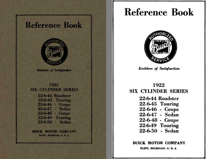 Buick 1922 - Reference Book Buick 1922 Six Cylinder Series