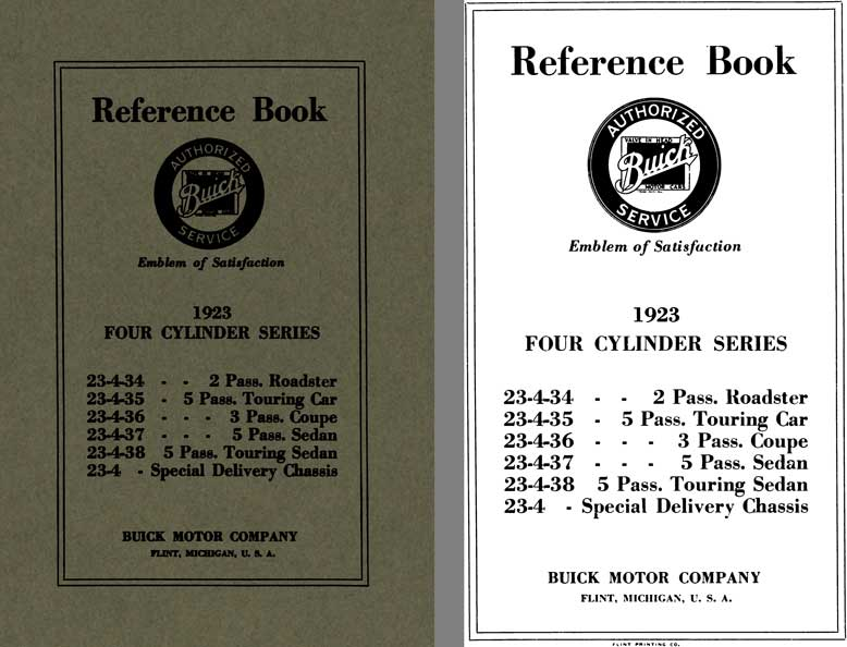 Buick 1923 - Reference Book 1923 Four Cylinder Series: 23-4-34, 23-4-35, 23-4-36, 23-4-37, 23-4-38,