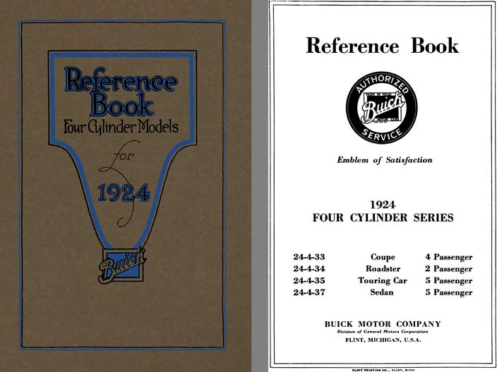 Buick 1924 - Reference Book Four Cylinder Models for 1924 Buick