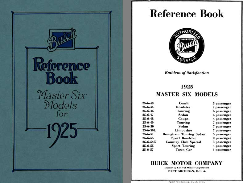 Buick 1925 - Buick Reference Book Master Six Models for 1925