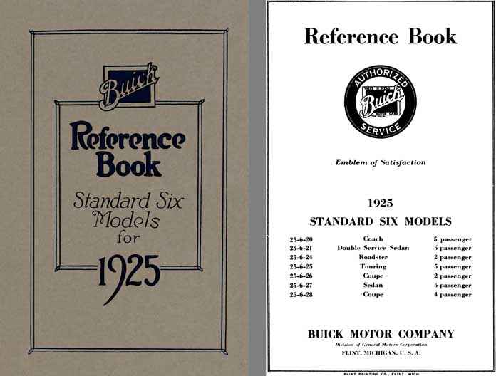 Buick 1925 - Buick Reference Book Standard Six Models for 1925