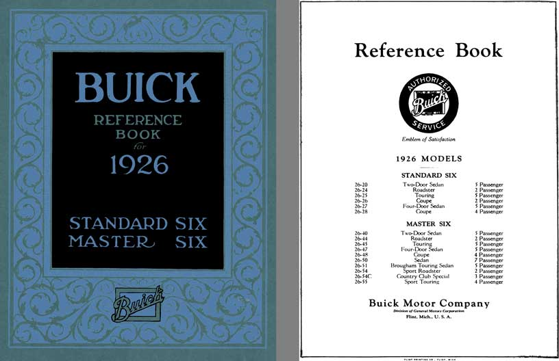 Buick 1926 - Reference Book for 1926 Standard Six & Master Six