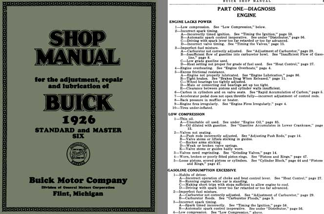 Buick 1926 - Shop Manual Buick 1926 Standard and Master Six for the Adjustment, Repair & Lubrication