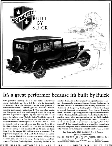 Buick 1929 - Buick Ad - Marquette Built by Buick - It's a great performer because its built by Buick