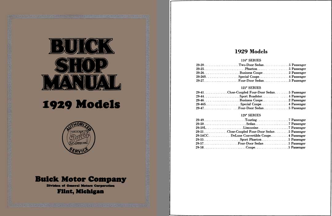 Buick 1929 - Buick Shop Manual 1929 Models