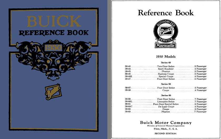 Buick 1930 - 1930 Buick Service Manual Series 40, 50, 60 (Reference Book)