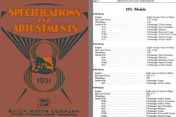 Buick 1931 -  Specifications and Adjustments 1931 Models