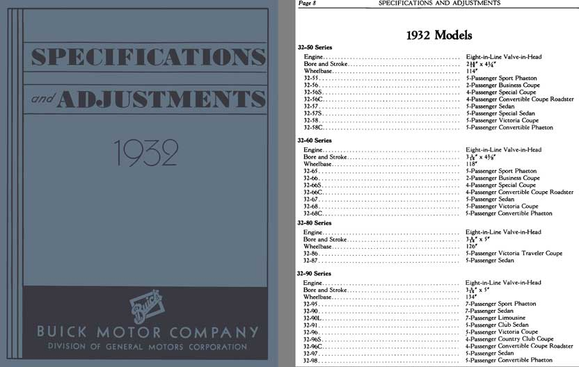 Buick 1932 - Specifications and Adjustments 1932 Models