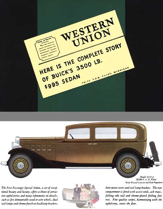 Buick 1932 - Western Union - Here is the Complete Story of Buick's 3500 LB. $995 Sedan