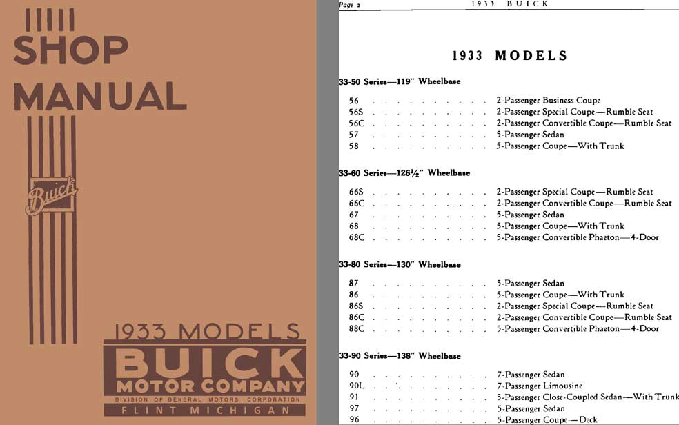 Buick 1933 - Shop Manual Buick 1933 Models