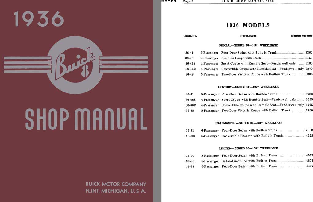 Buick 1936 - 1936 Buick 8 Shop Manual