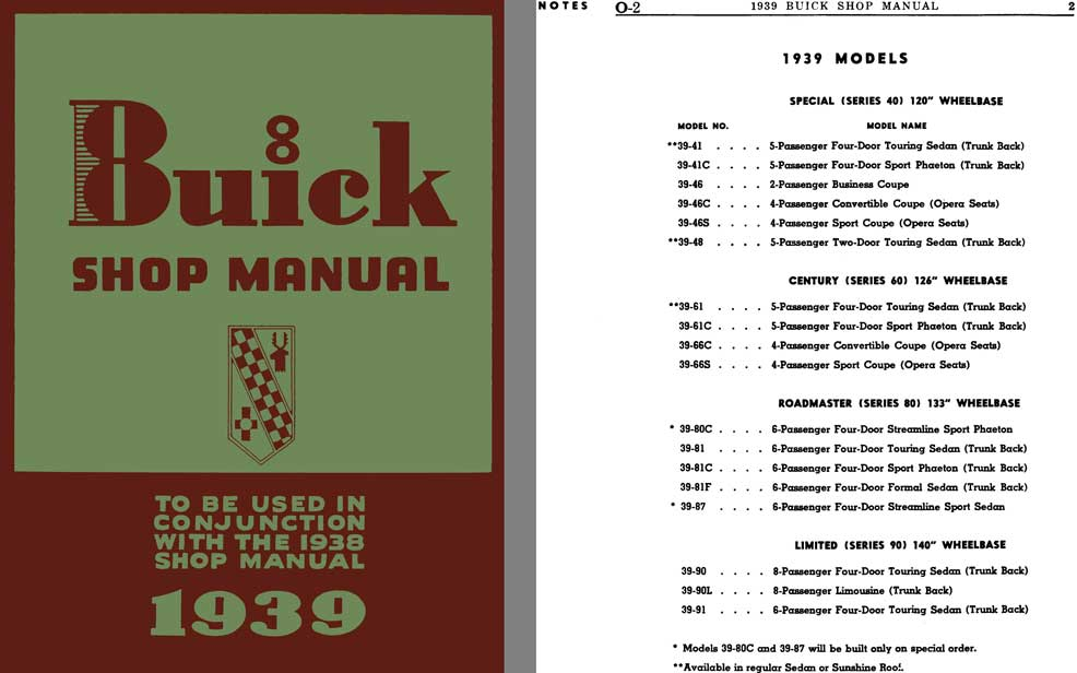 Buick 1939 - 1939 Buick 8 Shop Manual (To Be Used in Conjunction with the 1938 Shop Manual)