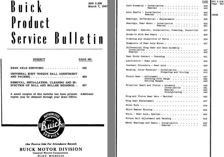 Buick 1947 - Buick Product Service Bulletin Pages 425 - 461