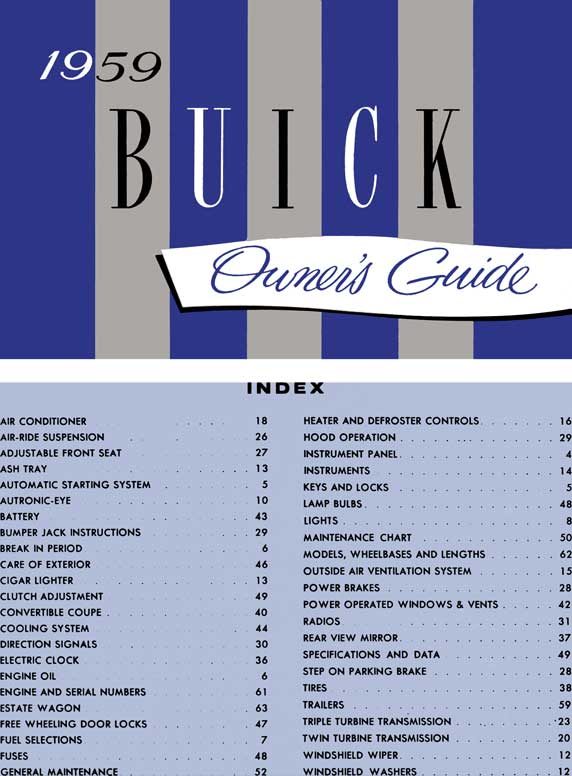 Buick 1959 - 1959 Buick Owner's Guide