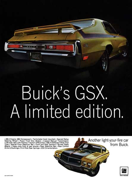 Buick 1970 - Buick GSX A Limited Edition Sheet