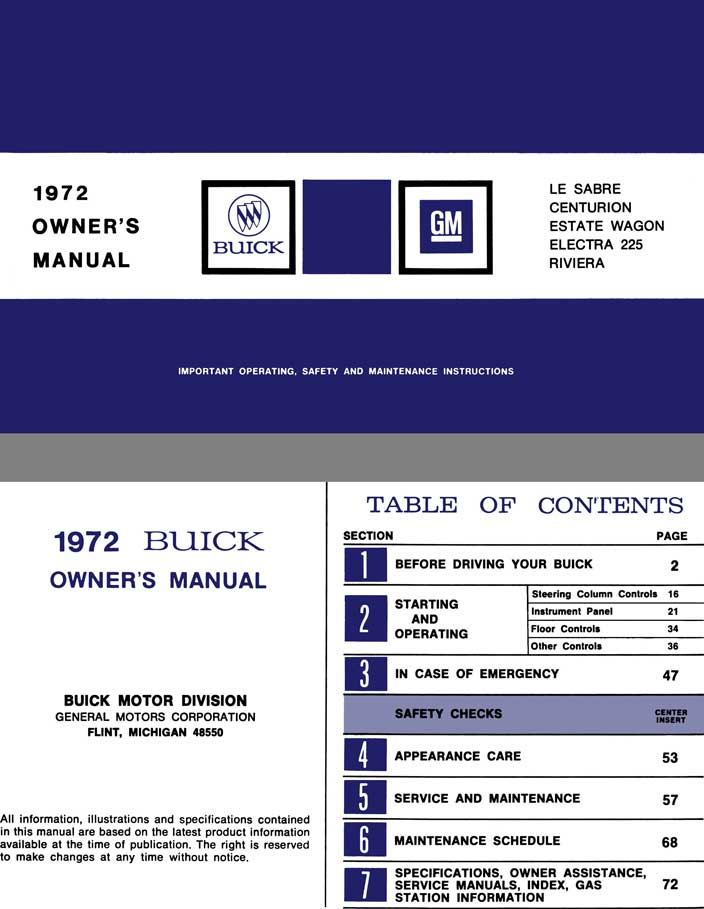Buick 1972 - 1972 Buick Owner's Manual - Le Sabre, Centurion, Estate Wagon, Electra 225, Riviera