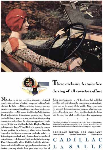 Cadillac 1929 - Cadillac LaSalle Ad - These exclusive features free driving of all conscious effort