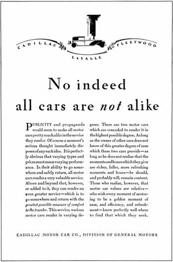 Cadillac 1929 -Cadillac Ad - Cadillac  LaSalle  Fleetwood - No indeed all cars are not alike