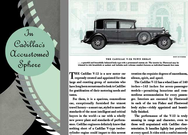 Cadillac 1931 - In Cadillac's Accustomed Sphere