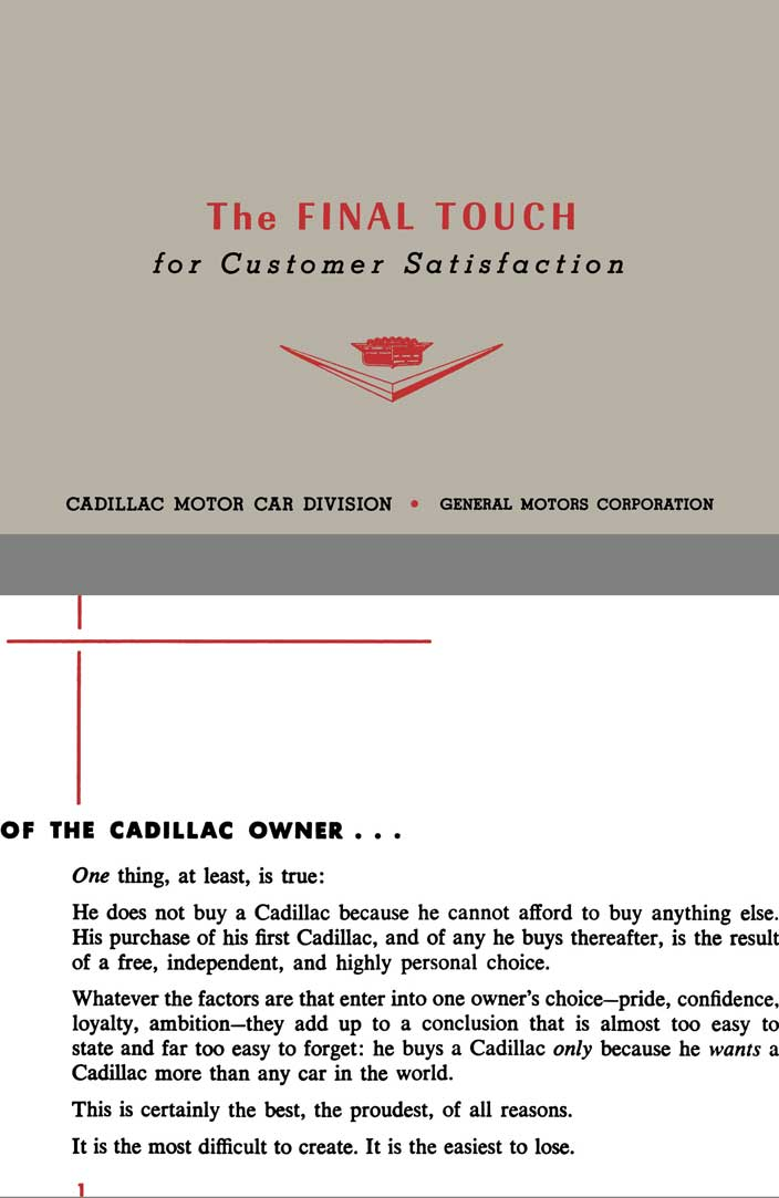 Cadillac 1957 - The Final Touch for Customer Satisfaction