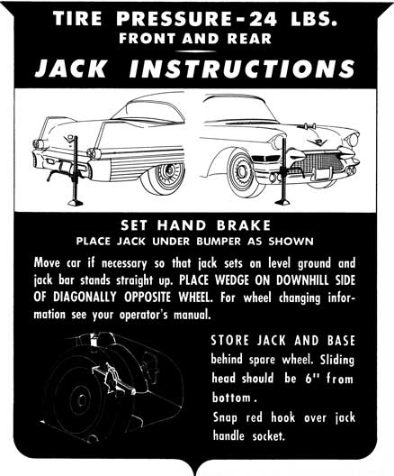 Cadillac 1957 Jack Instructions