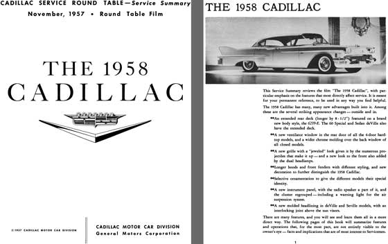 Cadillac 1958 - The Cadillac 1958 - Cadillac Service Round Table - Service Summary  Round Table Film