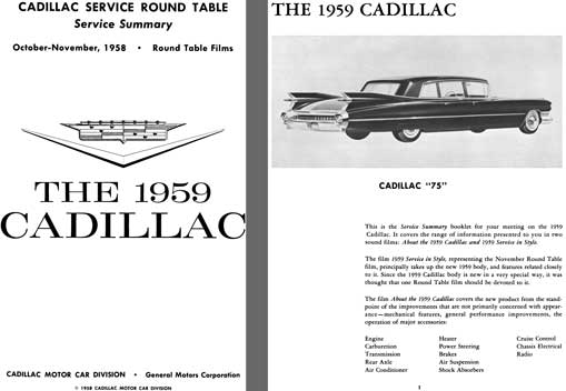 Cadillac 1959 - Cadillac Service Round Table Service Summary Oct-Nov 1958 - The 1959 Cadillac