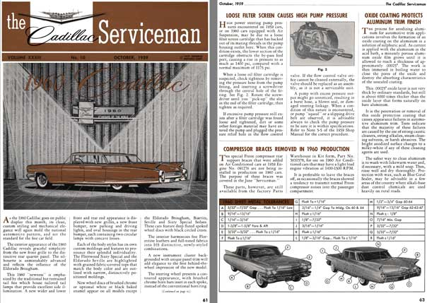 Cadillac 1959 - the Cadillac Serviceman Vol. XXXIII - No. 10 October 1959