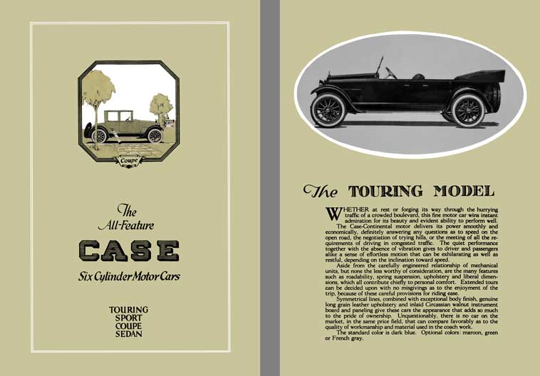 Case 1921 - The All Feature Case Six Cylinder Motor Cars Touring, Sport, Coupe, Sedan