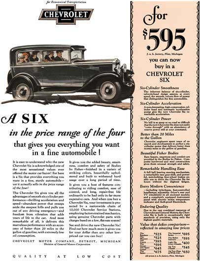 Chevrolet 1929 - Chevrolet Ad - A Six in the price range of the four that gives you everything you